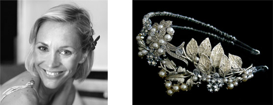 Jenni Falconer wears bespoke Flo & Percy headband for her wedding